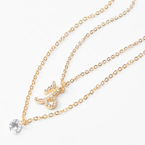Gold Cubic Zirconia Zodiac Multi Strand Necklace - Capricorn,