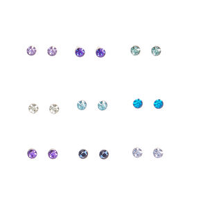 Small Colored Crystal Stud Earrings - 9 Pack,