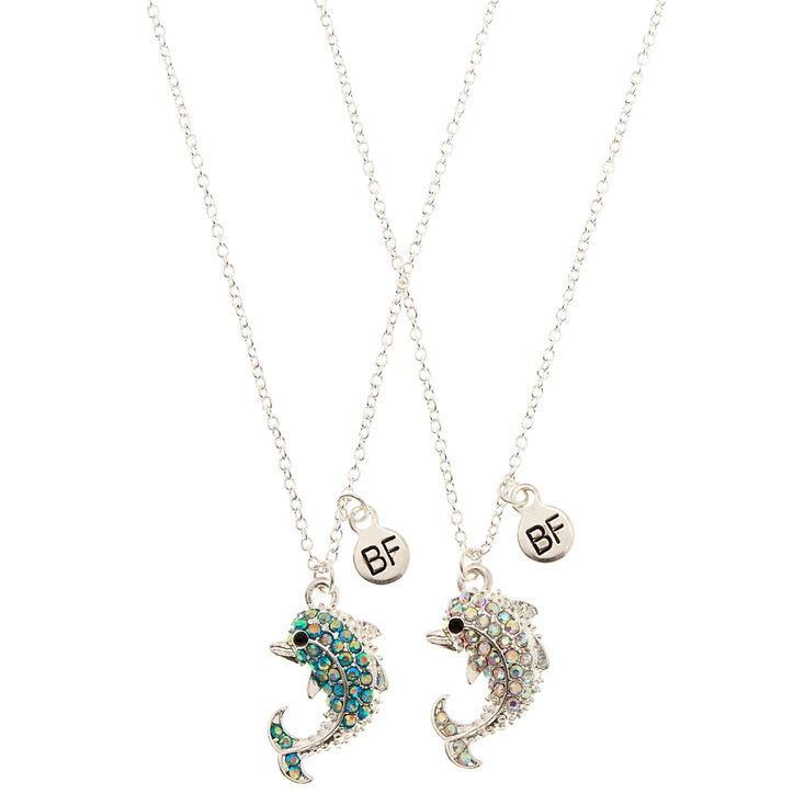 Best Friends Studded Dolphin Necklaces,