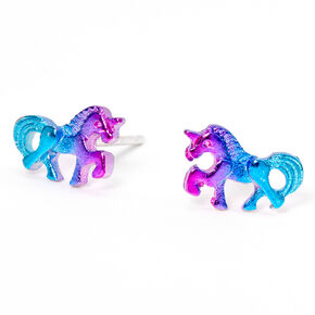 Anodized Unicorn Stud Earrings,