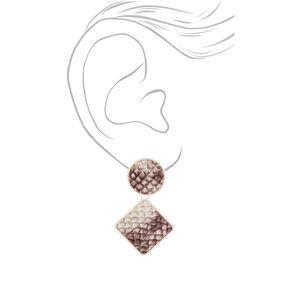 """2"""" Snakeskin Geometric Drop Earrings,"""