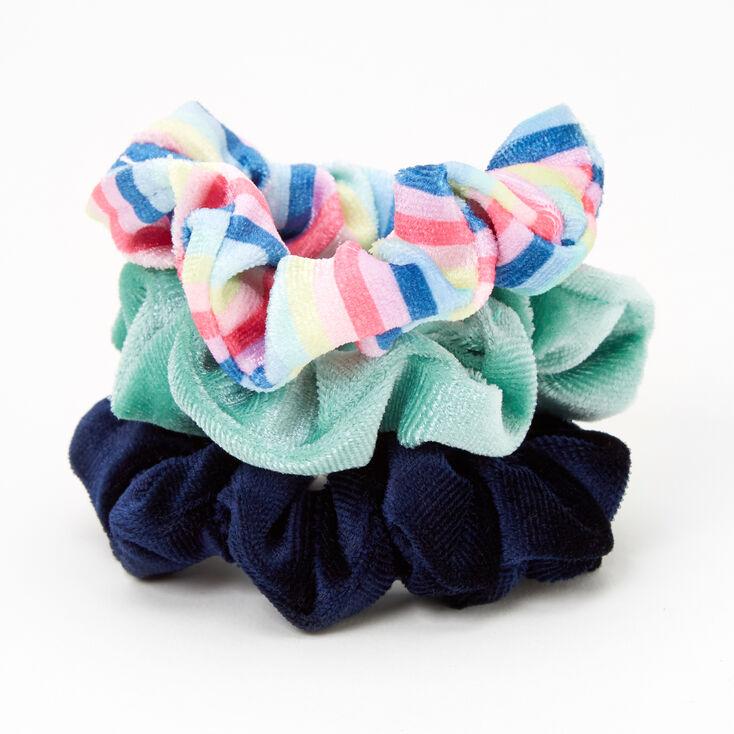 Claire's Club Small Velvet Spring Fling Hair Scrunchies - 3 Pack,