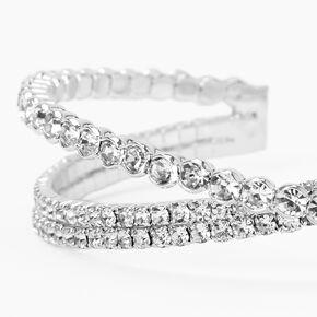 Silver Bezel Rhinestone Criss Cross Cuff Bracelet,