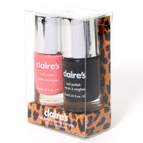Solid Nail Polish Set - Black/Pink, 2 Pack,