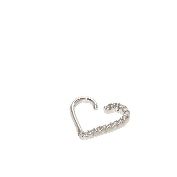 Silver Half Heart Daith Earring