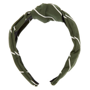 Striped Knotted Headband - Olive Green,