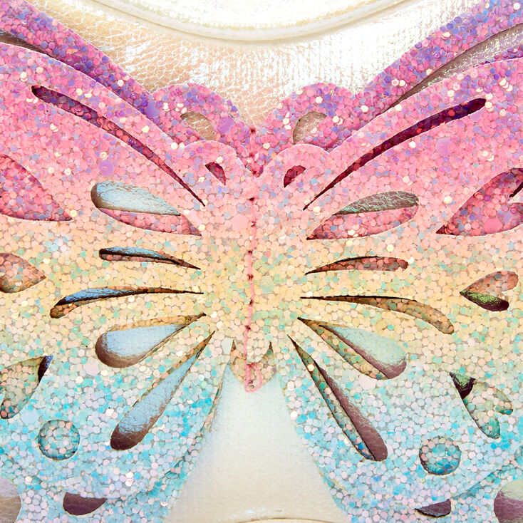 Claire's Club Glitter Butterfly Cut-Out Crossbody - Rainbow,