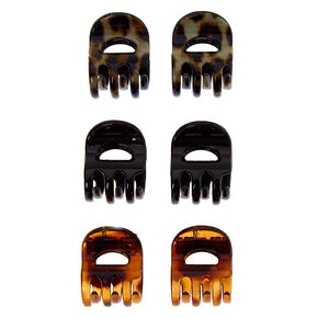 Solid Leopard Print Hair Claws - 6 Pack,