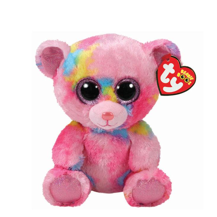 Ty Beanie Boo Small Franky the Tie Dye Bear Plush Toy,