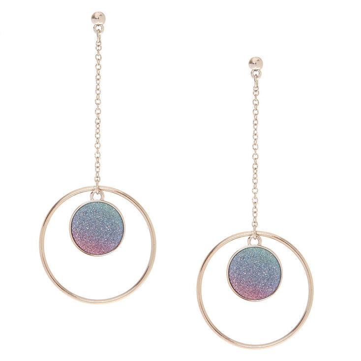 Glitter Ombre Disk Drop Earrings,