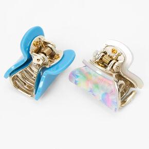 Mini pinces à cheveux marguerites arc-en-ciel pastel - Bleu, lot de 2,