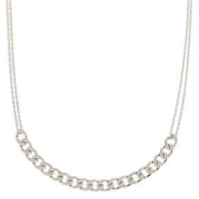 Silver Double Chain Necklace,