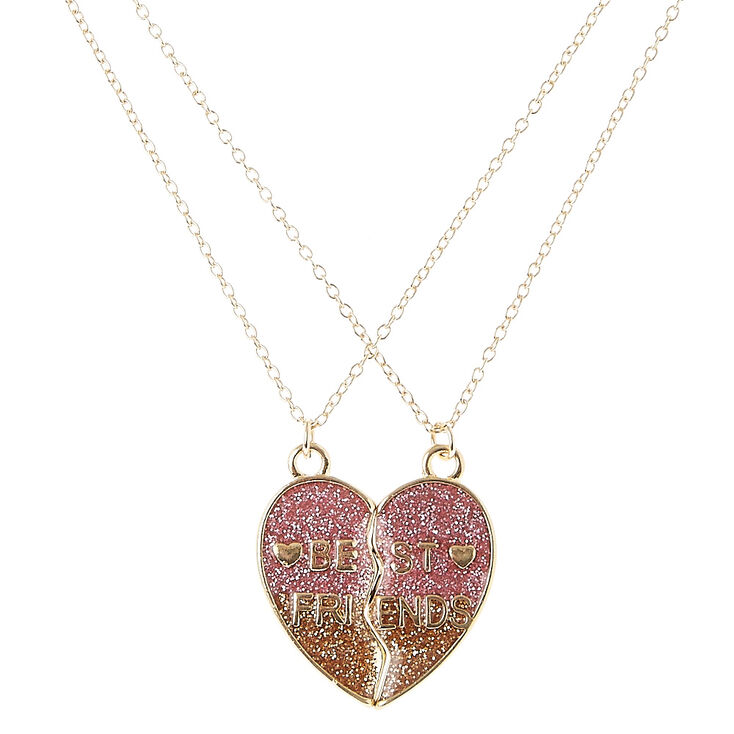 Best Friends Gold Glitter Split Heart Pendant Necklaces,
