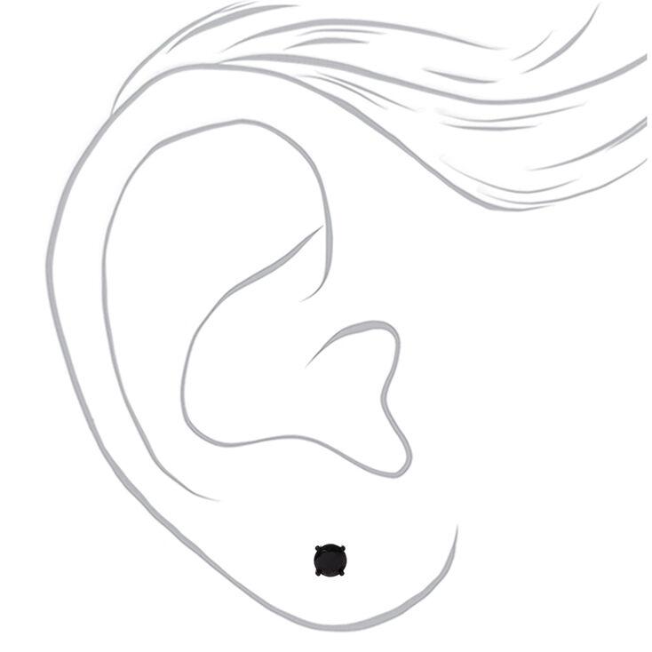 Back Cubic Zirconia Round Stud Earrings - 4MM, 5MM, 6MM,