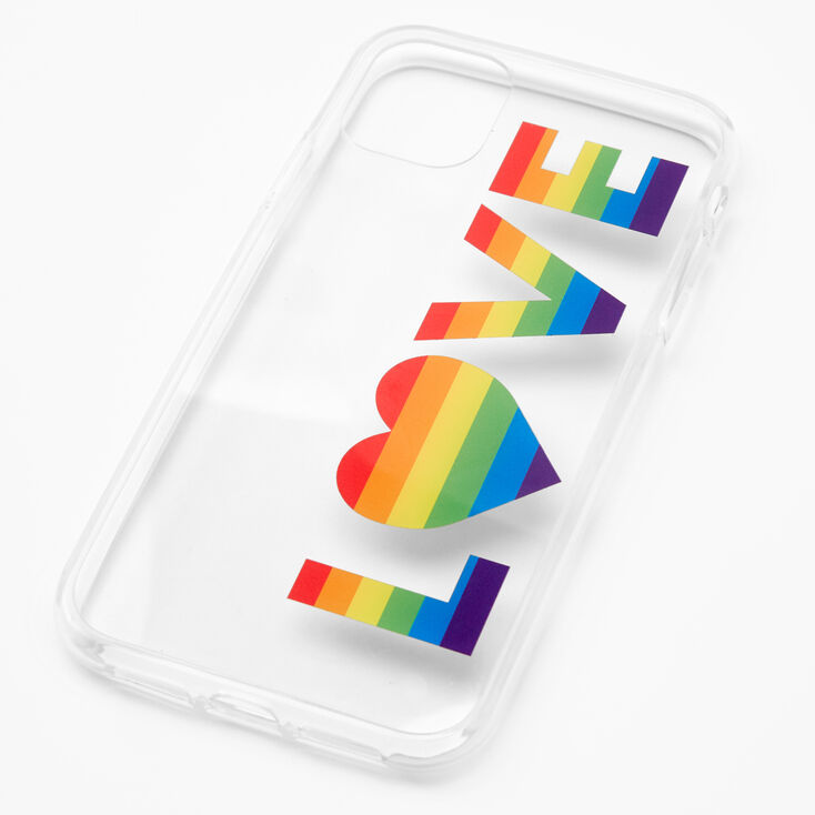 Rainbow Love Clear Phone Case - Fits iPhone 11,