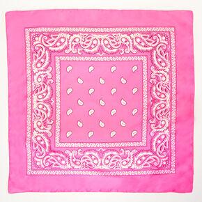 Paisley Bandana Headwrap - Neon Pink,