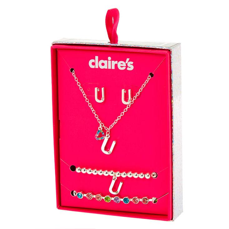 Silver Rainbow Initial Jewellery Gift Set - U, 4 Pack,