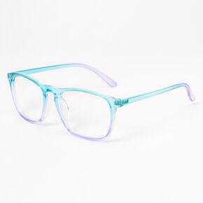 Lunettes transparentes en dégradé turquoise et lilas,