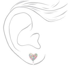 Silver Pastel Heart Clip On Stud Earrings,