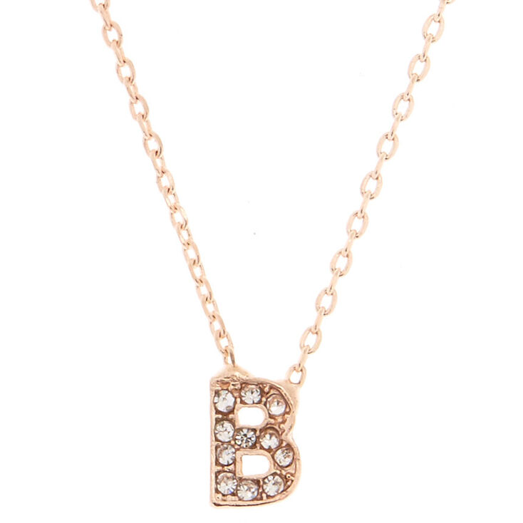 Rose Gold Studded B Initial Necklace,