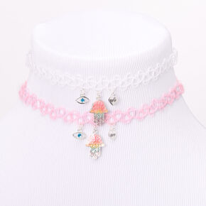 Best Friends Pastel Rainbow Hamsa Tattoo Choker Necklaces - 2 Pack,