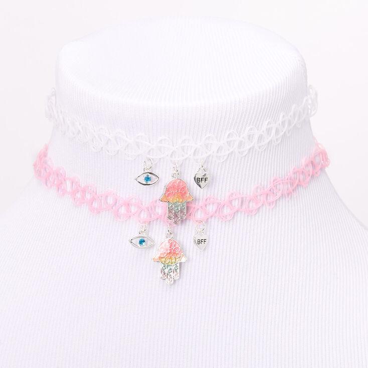 Best Friends Pastel Rainbow Hamsa Tattoo Choker Necklaces - 2 Pack,