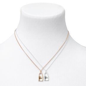 Best Friends Mixed Metal Padlock Pendant Necklaces - 2 Pack,