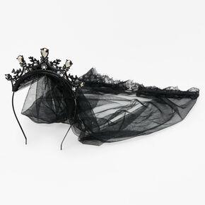 Halloween Goth Tiara Veil Headband - Black,