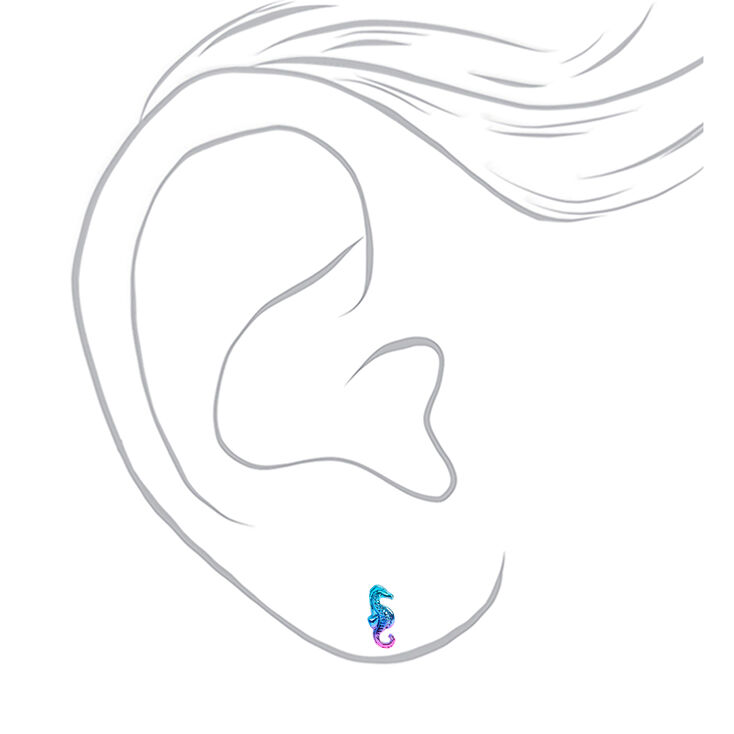 Silver Anodized Seahorse Stud Earrings,