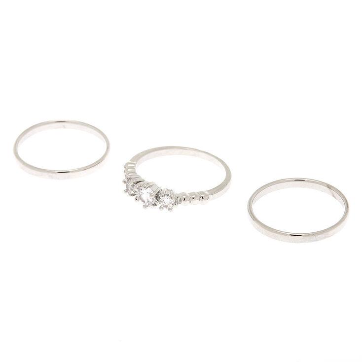 Silver Triple Cubic Zirconia Rings - 3 Pack,