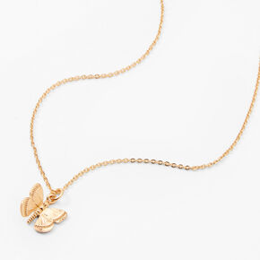Collier à pendentif papillon 3D couleur dorée,