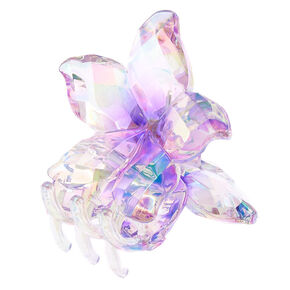 Clear Iridescent Flower Hair Claw - Purple,