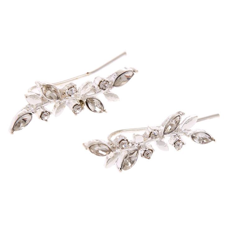 Bijoux d'oreilles feuille de vigne ornementées couleur argentée,