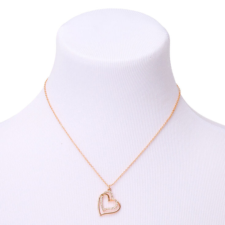 Rose Gold Heart Pendant Necklace,