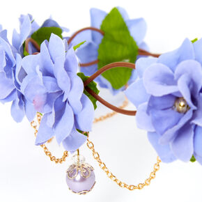 Gold Chain Flower Vine Headwrap - Dusty Blue,
