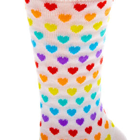 Socquettes cœurs arc-en-ciel - Blanc,