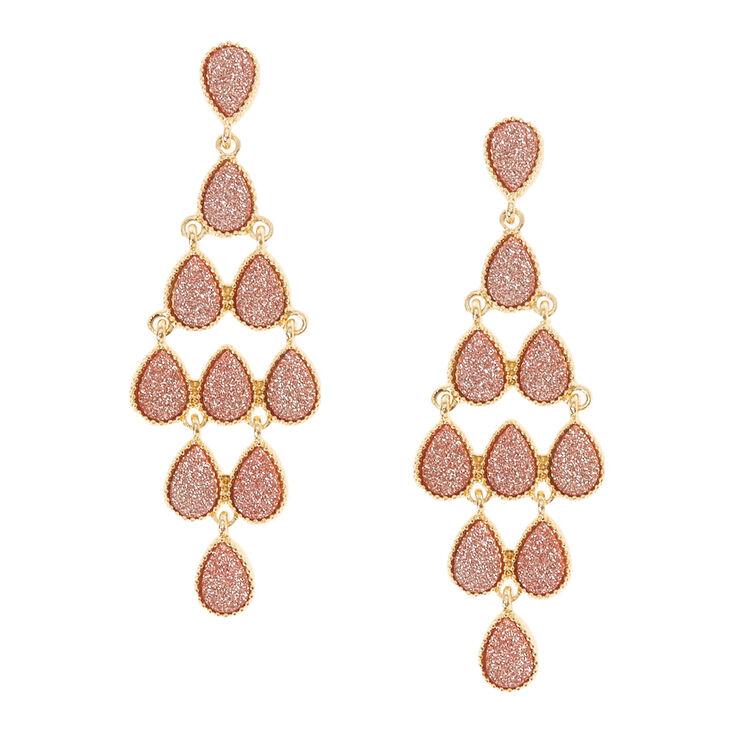 Rose Gold Shimmer Stones Chandelier Clip On Drop Earrings