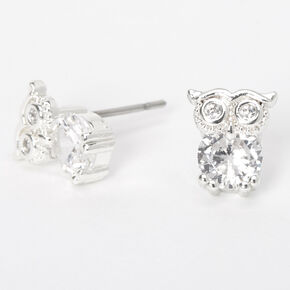 Silver Cubic Zirconia Owl Stud Earrings - 5MM,