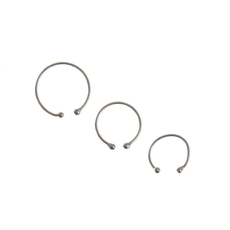 Silver Graduated Faux Body Jewellery Hoops - 3 Pack,