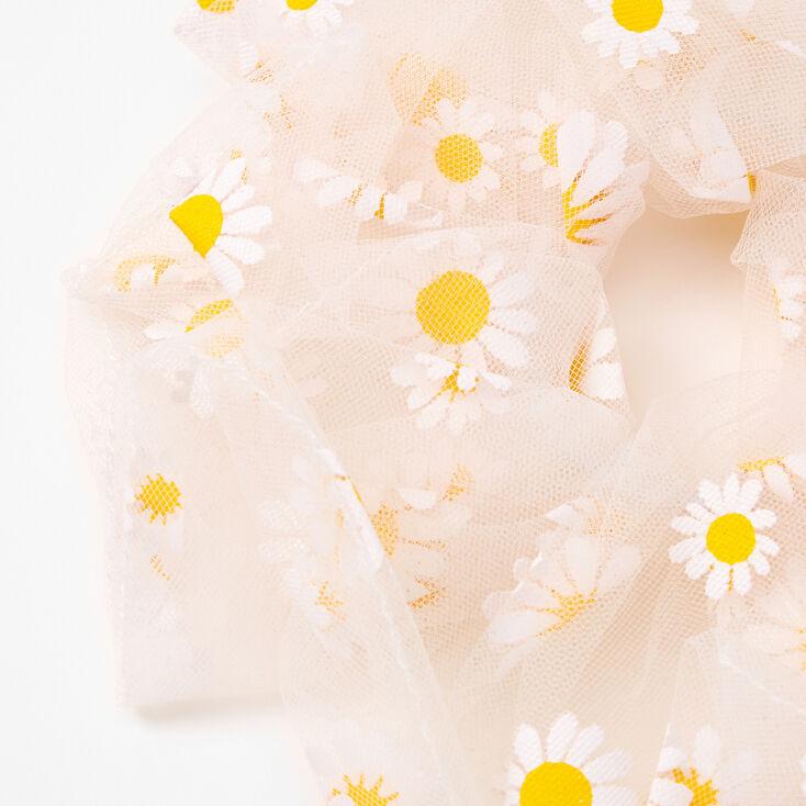 Giant Sheer Mesh Daisy Hair Scrunchie - White,