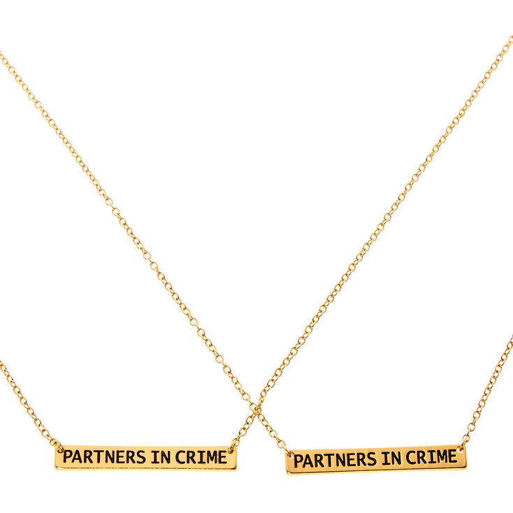 Gold Partners in Crime Pendant Necklaces - 2 Pack,