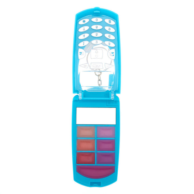 Rainbow Panda Bling Flip Phone Lip Gloss Set - Turquoise,