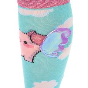 529d596dbd5 3D Pig Wings Knee High Socks - Turquoise