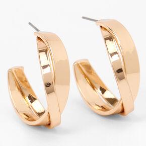 Gold 25MM Crisscross Hoop Earrings,