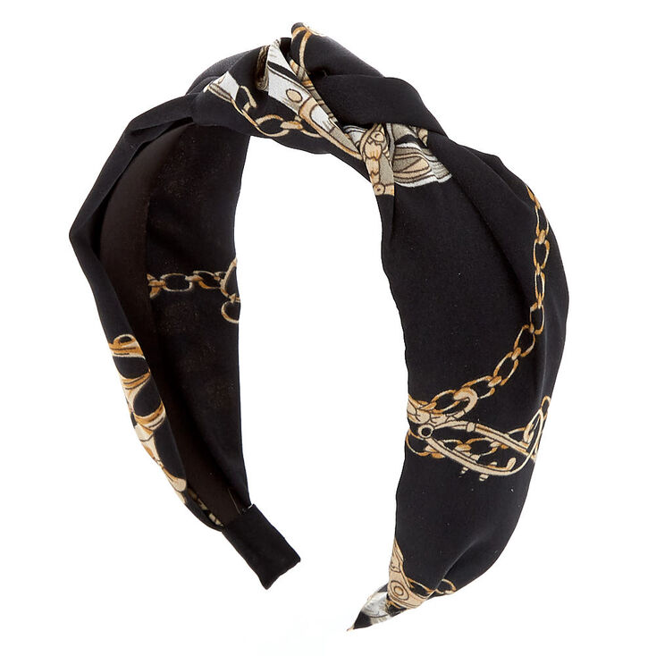 Chain Print Knotted Headband - Black,