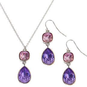 Silver Teardrop Jewelry Set - Purple, 2 Pack,