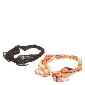 Black & Aztec Print Chiffon Knotted Bow Headwraps - 2 Pack,