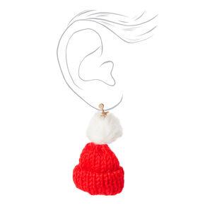 Knit Hat Clip On Drop Earrings - Red,