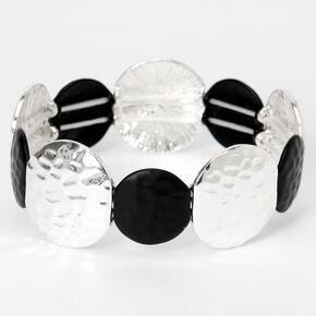 Bracelet élastique cercles martelés couleur argentée et noir,