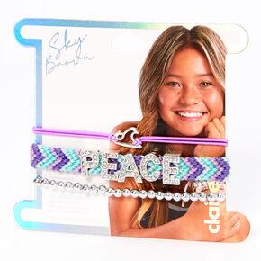 Sky Brown™ Peace Braided bracelets – Purple, 3 pack,